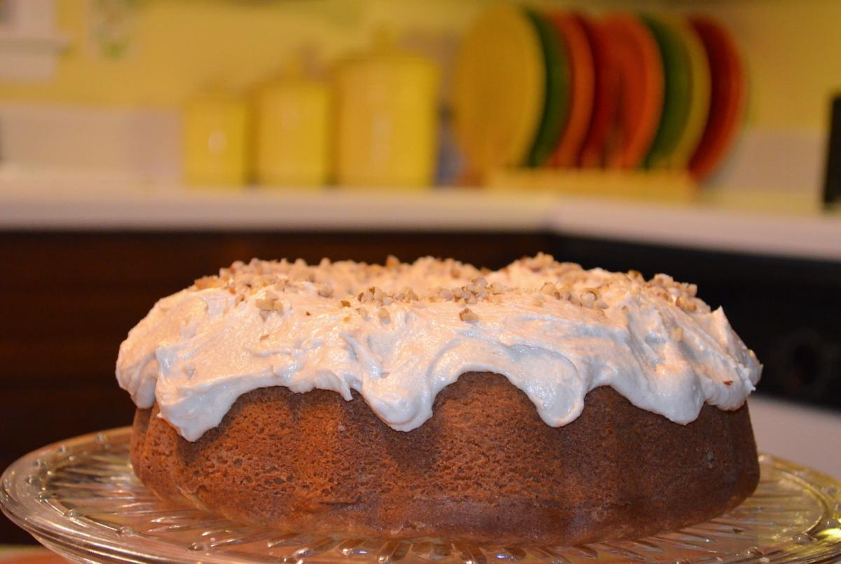 the brown sugar black walnut cake tastes as good as it looks.