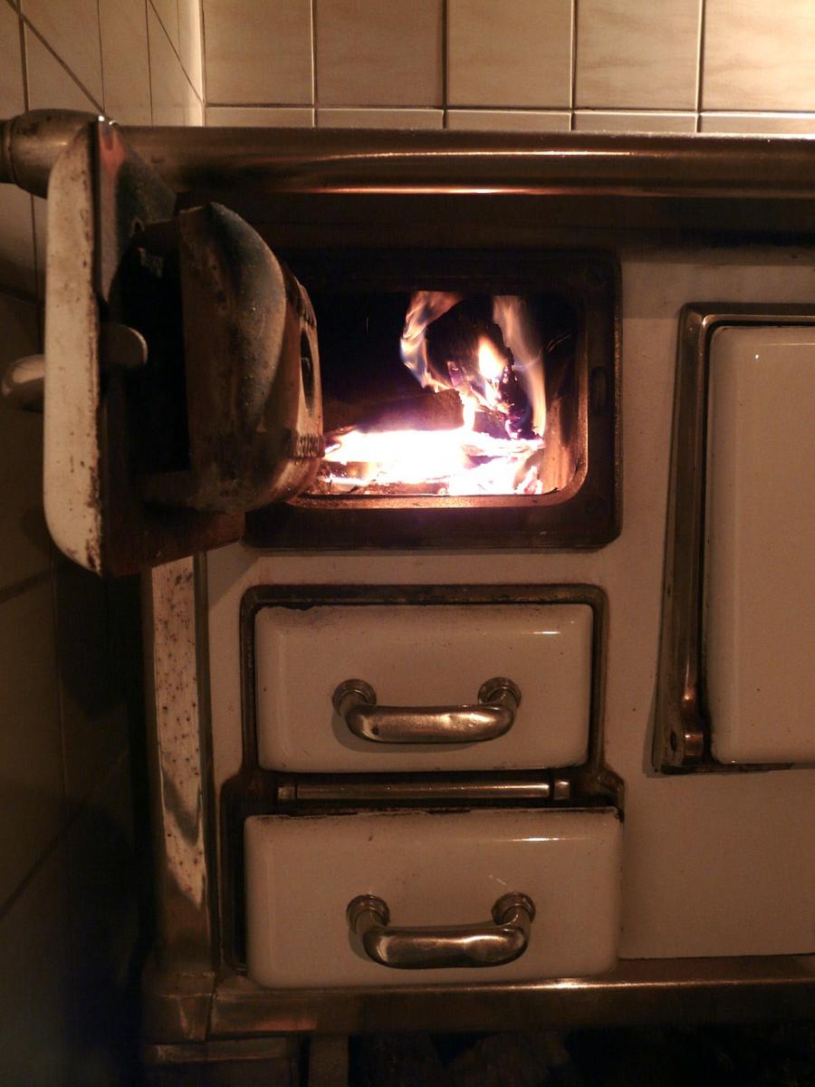 The fire in the wood stove heats the Appalachian room